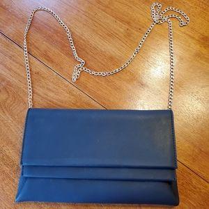 Miztique black viny handbag with silver chain. GUC